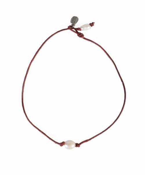 Maroon Cotton Single Pearl Cord Choker