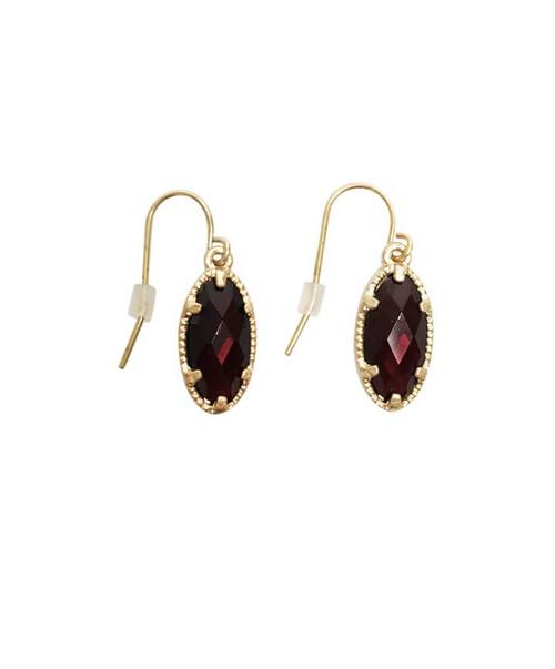 Women's Maroon Oval Small Stone Earrings