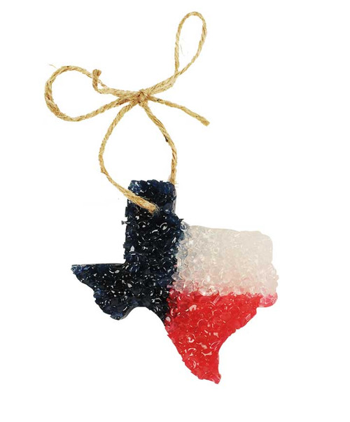 Red White & Blue Texas Shaped Air Freshener with Leather Scent