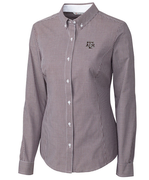 Maroon Epic Easy Care Long Sleeve Gingham - Womens | Cutter & Buck