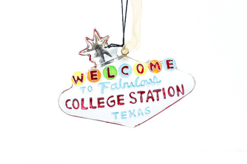 Kitty Keller Welcome to College Station Christmas Ornament