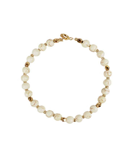 Natural Beaded Bracelet with Gold Accents