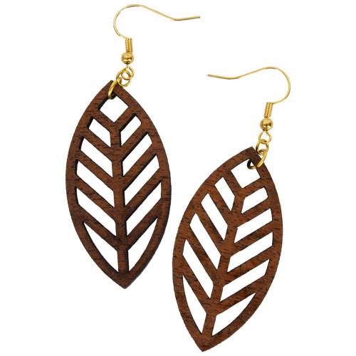 Uniquely Mesquite Women's Handmade Mesquite Wood Leaf Earrings