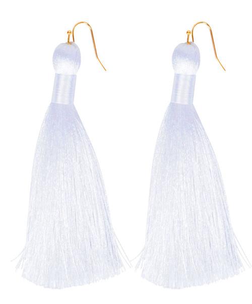 Almond James Women's White Single Long Tassel Hook Earrings