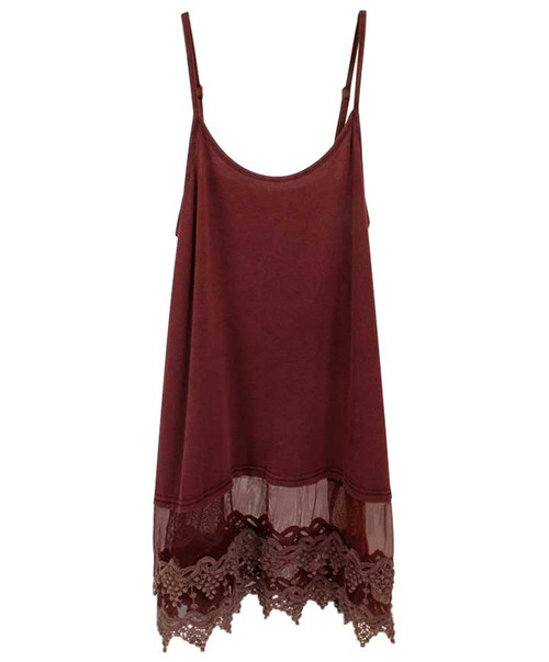 Women's Burgundy Heather Lace Camisole Top Extender