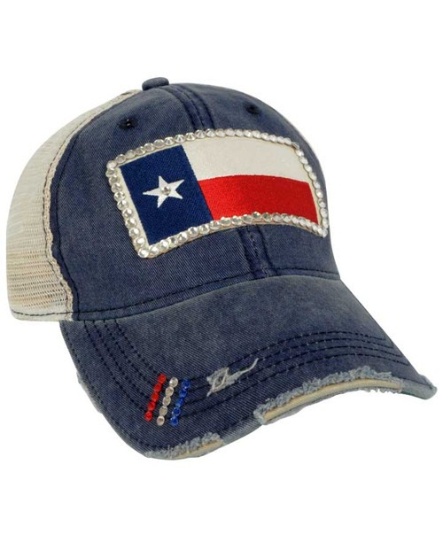 Texas Flag Patch Bling Vintage Navy Trucker Hat