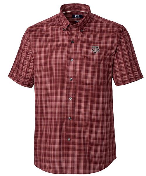 Cutter & Buck Men's Maroon Fremont Check Short Sleeve Button Down