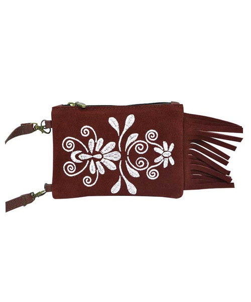 Womens Agave Sky Maroon and White Embroidered Fringe Gameday Crossbody Bag