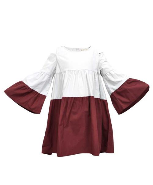 Youth Girls Two Tone Cold Shoulder Poplin Dress