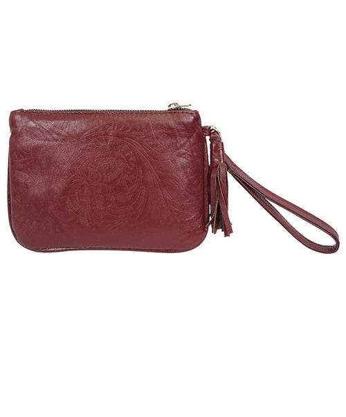 Womens Agave Sky Maroon Embossed Leather Milagro Clutch