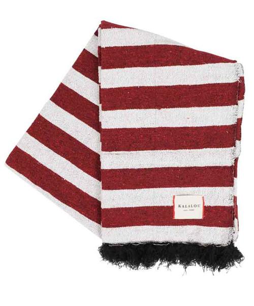 Kalalou Maroon and White Gameday Cotton Throw Blanket