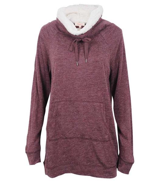 Heather Maroon Womens Joan Cowlneck Kangaroo Pocket Sweater