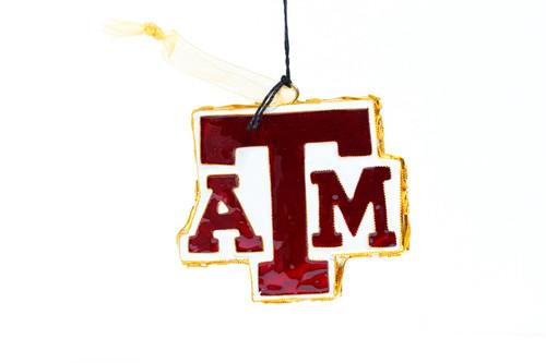 Kitty Keller Block A&M Logo Shape Christmas Ornament