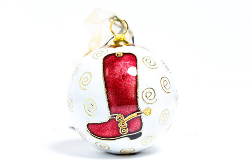 Kitty Keller Round Corps Boot Christmas Ornament