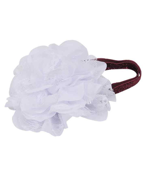 Infant Maroon and White Glitter Bow Headband