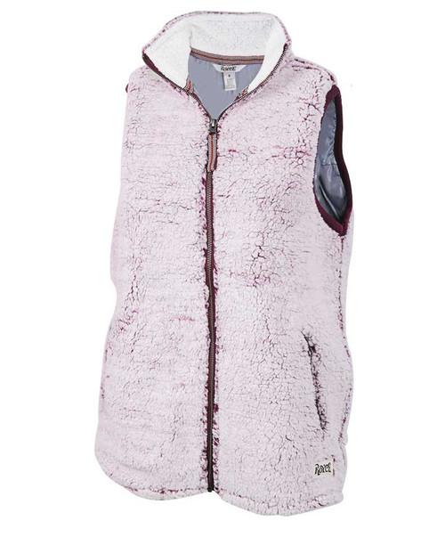 Pressbox Women's Maroon Full Zip Poodle Fleece Vest
