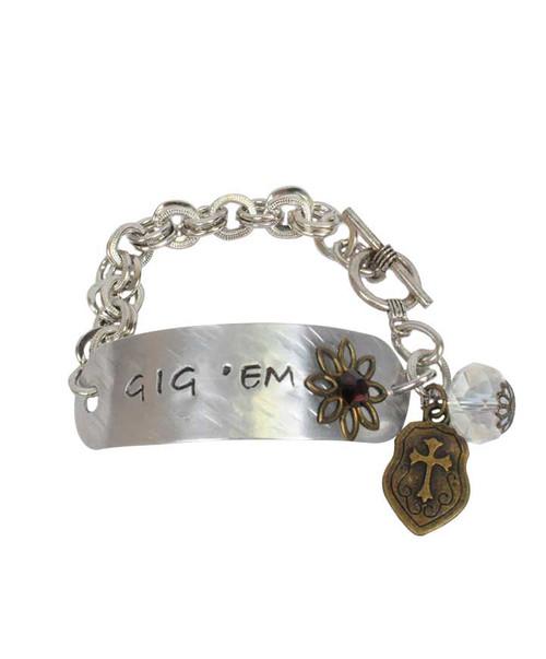 Gig'em Stamped Bracelet