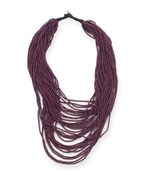 Ink + Alloy Women's Maroon Seed Bead Necklace
