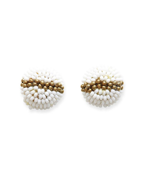 Ink + Alloy Women's White and Gold Seed Bead Earrings