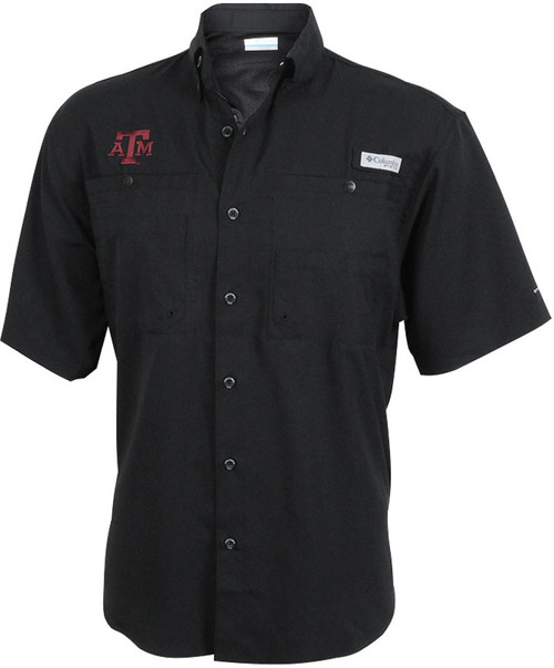 Texas A&M Aggies Columbia Men's Black Extended Size Tamiami Short Sleeve Shirt