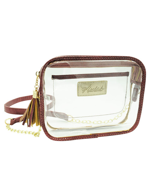 Klutch Women's Maroon Stadium Approved Clear Bag