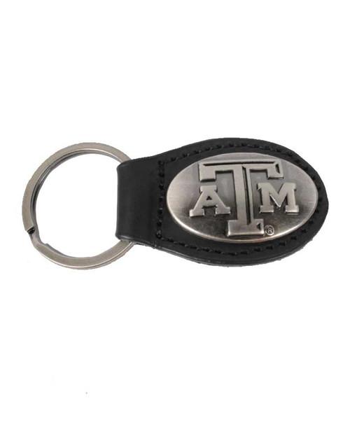 Zep-Pro Black Leather Concho Oval Keychain
