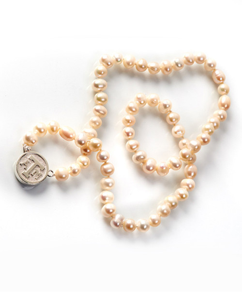 """Texas A&M Aggies Kitty Keller 20"""" 8mm White Classic Round Pearl Necklace"""