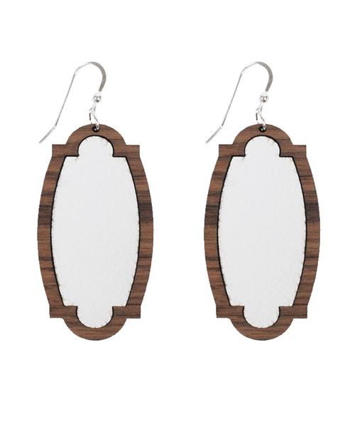 White Wooden Leather Heirloom Earrings