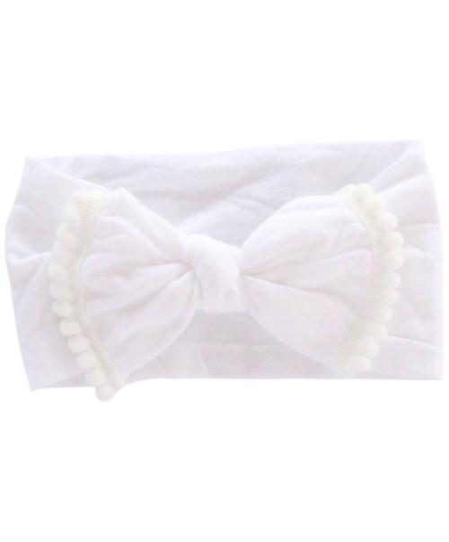 Infant White Pom Pom Nylon Bow Headwrap