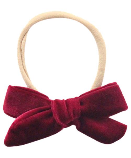 Infant Maroon Velvet Bow Headband