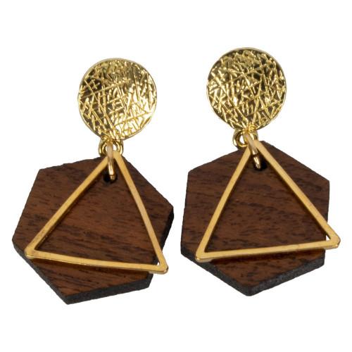Uniquely Mesquite Women's Handmade Mesquite Wood Hexagon Earrings