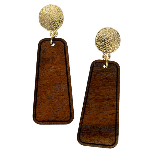 Uniquely Mesquite Women's Handmade Mesquite Wood Rounded Triangle Earrings