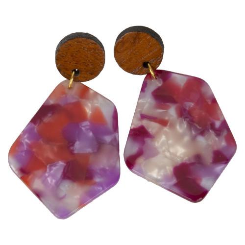 Uniquely Mesquite Women's Handmade Watercolor Tortoise Acrylic Earrings