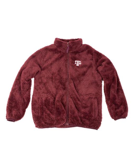 Garb Youth Boy's Maroon Harvey Sherpa Fleece Full Zip Jacket