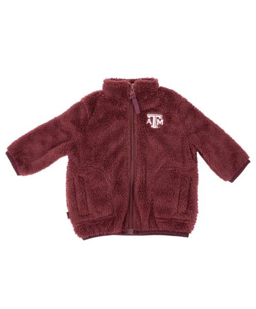 Garb Infant Boy's Maroon Harvey Sherpa Fleece Full Zip Jacket