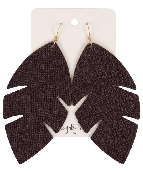 Women's Saffiano Large Leaf Earring