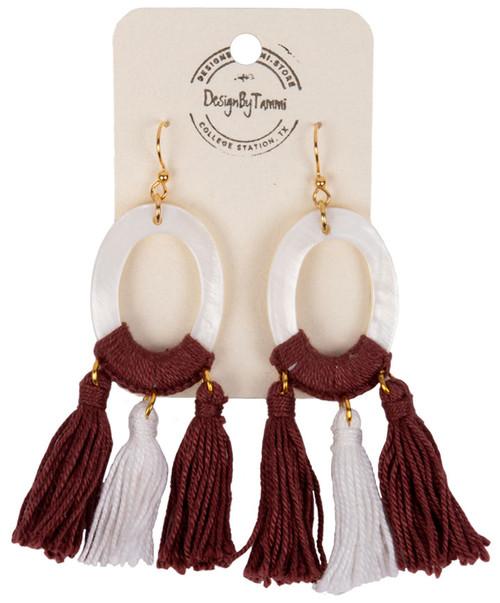Women's Oval Shell Tassel Earring