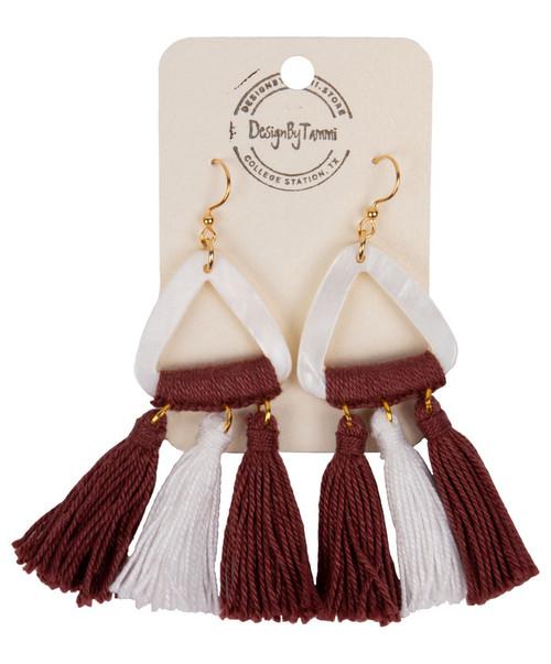 Women's Triangle Shell Tassel Earring