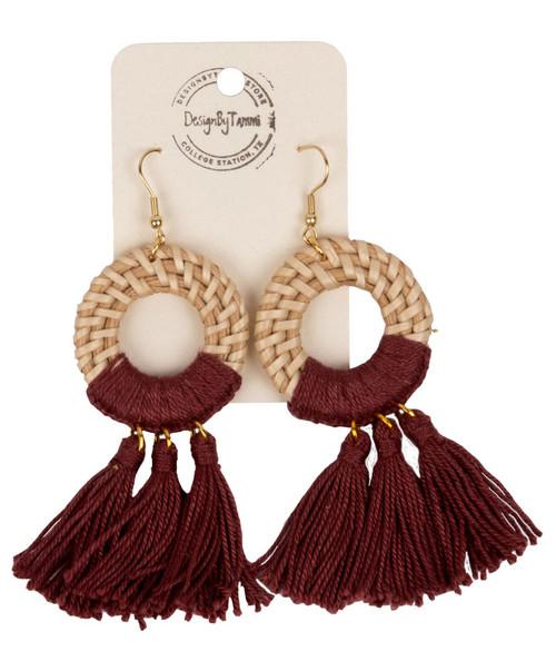 Women's Rattan Circle Tassel Earring