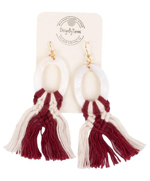 Women's Maroon and White Macrame Oval Shell Earring