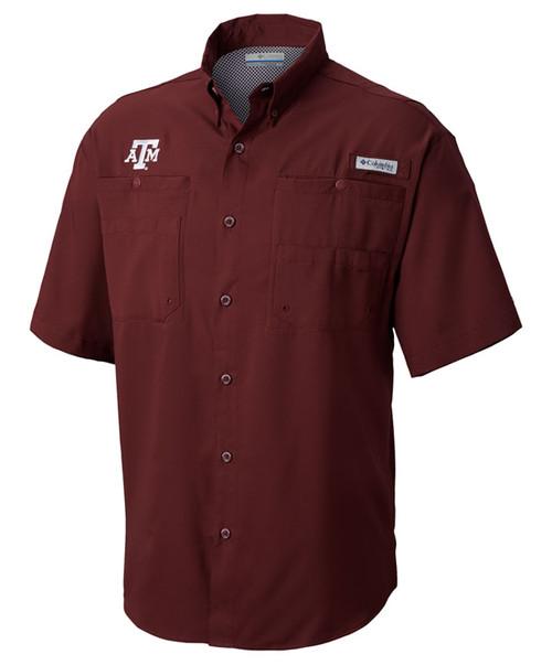 Columbia Men's Maroon Tamiami Short Sleeve Shirt