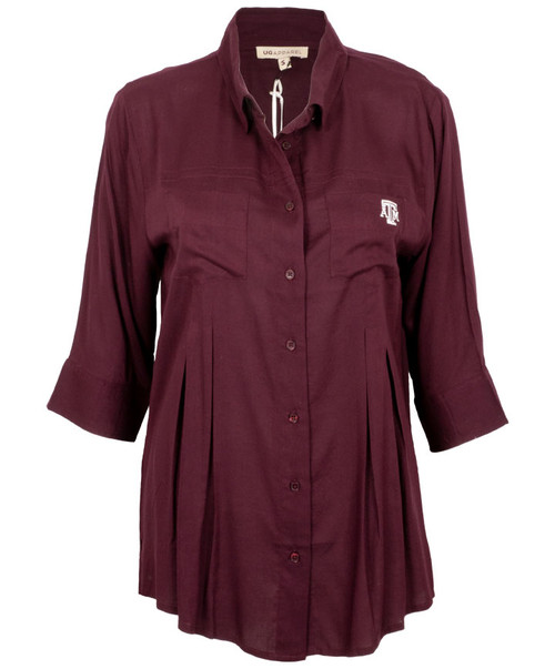 UG Apparel Women's Front Pleat Button-Up Top