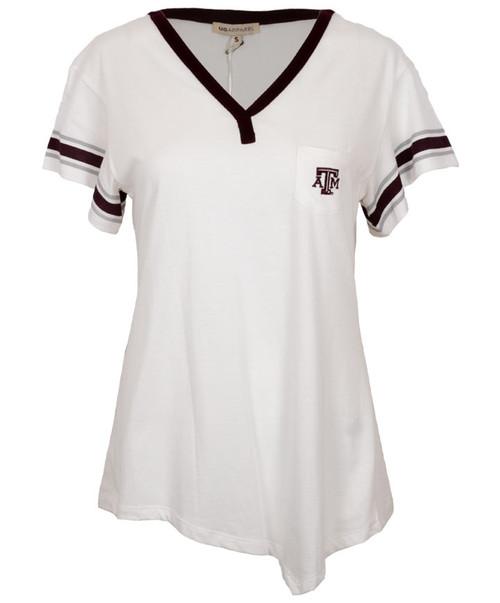 Texas A&M Aggies UG Apparel Women's Off-White Jersey Pocket Short Sleeve Tee-1