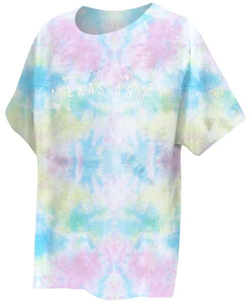 Chicka-D Women's Rainbow Tie-Dye Short Sleeve Slouchy Tee