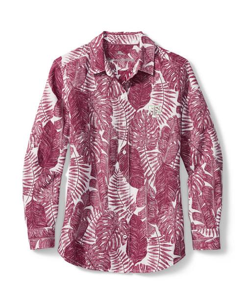 Tommy Bahama Women's Maroon Sport Frondly Fan Linen Long Sleeve Roll Up Shirt