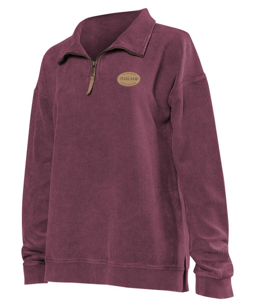 Chicka-d Women's Vintage Washed Corded Long Sleeve Quarter Zip