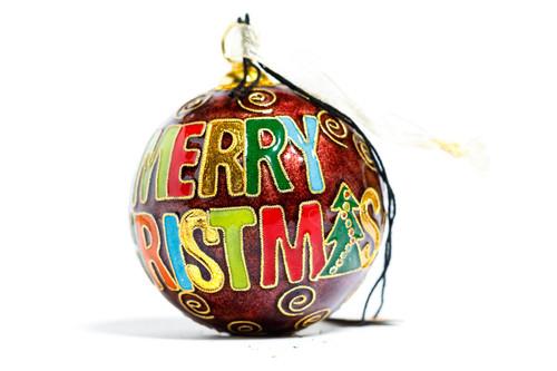 Kitty Keller Maroon Block Merry Christmas Ornament