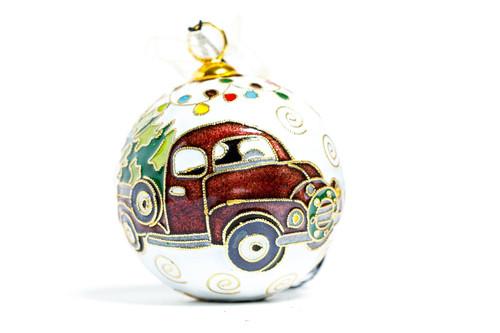 Kitty Keller Maroon Truck Christmas Ornament