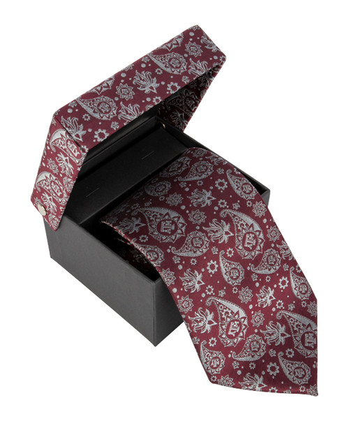Men's Paisley Woven Silk Tie with Matching Fabric Box