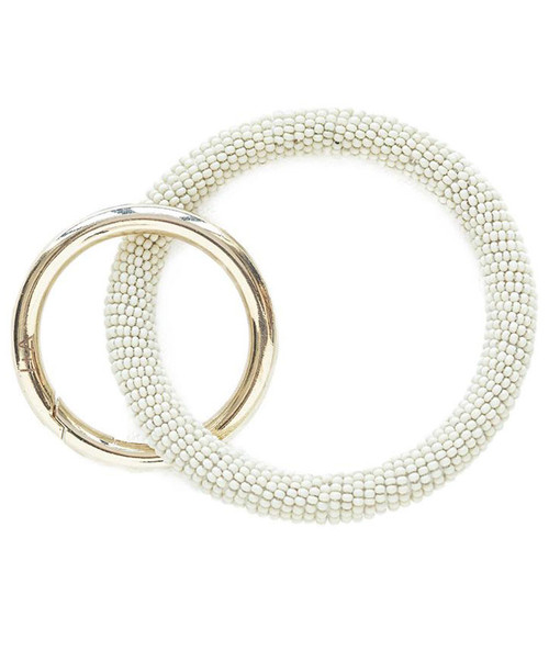 Ink + Alloy Ivory Seed Bead Key Ring